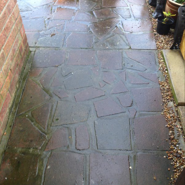 Path before pressure washing